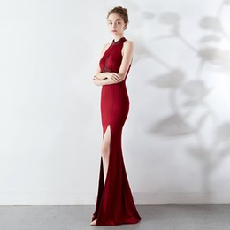$enCountryForm.capitalKeyWord Australia - New Mermaid Evening Dress Fashion Long Halter Sexy Backless Bride Marriage Banquet Reception Prom Gown Dress