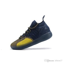 kds sneakers for NZ - Cheap men kd 11 basketball shoes Michigan Navy Blue yellow boys girls youth kids Kevin Durant xi kd11 sneakers boots kds for sale