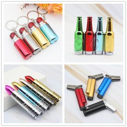 lipstick gas Australia - Newest Lipstick Beer Bottle Keychain Open Fire Flame Jet Inflatable Butane Lighter No Gas 4 Styles Cigarette Smoking Tool