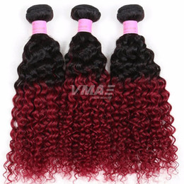 $enCountryForm.capitalKeyWord Australia - Brazilian Virgin Hair Kinky Curly Wave VMAE Ombre 1B Burgundy Red Brazilian Hair Extension Brazilian weave Bundles 3pcs
