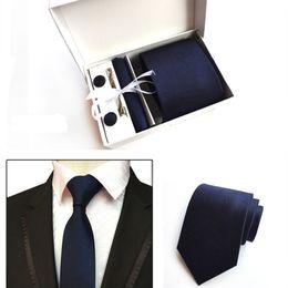 f8f69269dd8b 6 Piece Set Fashion Neckties Classic Unisex Stripe Yellow Navy Blue Wedding  Ties Jacquard Woven Silk Cufflinks Tie Clip Gift Box Packing