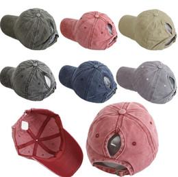 ClassiC hats online shopping - Washed Ponytail Baseball Cap Vintage Profile Adjustable Unisex Classic Plain Sport Hat Outdoor Summer Dad Snapback Hat TTA975