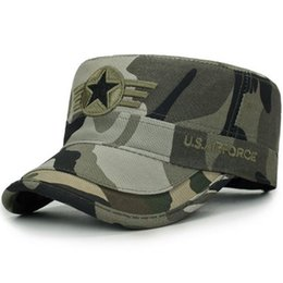 flat military caps UK - 2020 New Middle-Aged Men'S Hat Baseball Cap Camouflage Military Cap Male Flat-Topped Cap Casual Sun Hat Spring And Autumn Hat Wh dkrIx