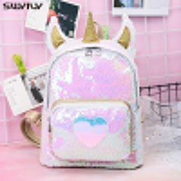 Cute Korean Style Backpacks Australia - SWYIVY Backpack With Sequins 2019 New Fashion Unicorn Backpacks Korean-style Cute Students Bag Gold Silver Travel Bags Zipper