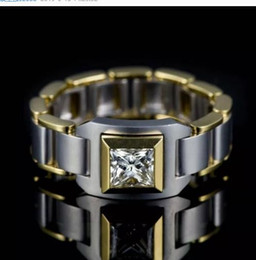 double finger chain rings Australia - Luxury Male Chain Small Zircon Finger Ring Fashion Love Party Wedding Rings For Men Vintage Silver Gold Filled Double Color Ring