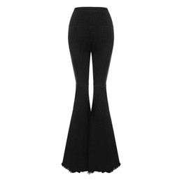 40d430a4034 women s bodycon high waist denim flared pants jeans women wide leg pants  vintage stretch horn black jeans for ladies