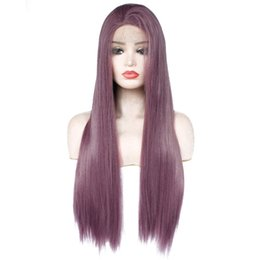Chinese  Cheap Dark Purple Wig Glueless Synthetic Lace Front Wigs New Long Straight Replacement Hair Lavender Violet Heat Resistant Fiber Cosplay Wig manufacturers