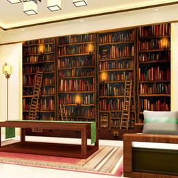 bookshelf backdrop 2019 - 3D Wallpaper Classic Bookshelf Oil Painting Photo Mural Study Library Living Room Backdrop Wall Home Decor Papel De Pare