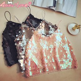 32f2fd3e7 Sequin Cami Sexy Crop Top Summer Women Tanks Top Slim Backless Camisole  Cropped Tops Q190330