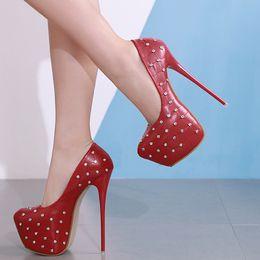 $enCountryForm.capitalKeyWord NZ - 16cm Nightclub dance shoes red rivets rhinestone grid design ultra high heels platform pumps Ivory size 34 to 40