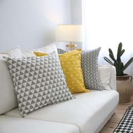 hugging pillow cover Canada - Microfine Pillow Covers Linen   Cotton Home Decor Plaid Pillow Geometric Art Simple Sofa Hug 45*45cm 60*60cm Nordic Simplicity
