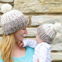 $enCountryForm.capitalKeyWord Australia - 2Pcs Baby Mother Winter Hat Newborn Baby Girls Boys Women Beanies Cap Knitted Crochet Warm Pompon Mother Kids Pom Bonnet
