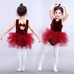 c0ac7f48a Children girls dancewear Dance skirts Students performance clothing kids  Ballet skirt lace Tutu Tulle dress baby Summer Backless dress C6636