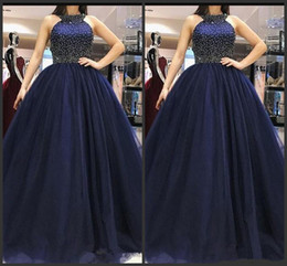 ElEgant grEEn drEss cocktail online shopping - 2019 Navy Blue Prom Dresses Tulle Long with beaded Ball Gown Elegant Evening Gown Halter Cocktail Dress robe de soiree Open Back