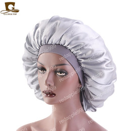 $enCountryForm.capitalKeyWord Australia - New Women Big Size Beauty print Satin Silk Bonnet Sleep Night Cap Head Cover Bonnet Hat for For Curly Springy Hair Black