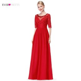 pretty red wedding dresses Australia - 2018 New Arrival Red Evening Dresses Long Ever-Pretty Brand A Line Half Sleeves Elegant Formal Gowns for Wedding Party Mother
