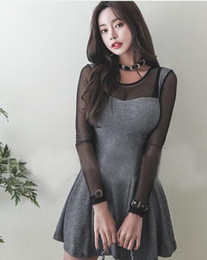 Discount latest ladies fashion dresses 2019 Korean version of spring fashion ladies latest temperament was thin sexy mesh stitching A word dress