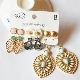 Mix Match earrings online shopping - New fashion women s jewelry girl pink vintage floral beautiful mix and match pairs set earrings Christmas gift