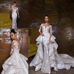 $enCountryForm.capitalKeyWord Australia - Luxury Designed Mermaid Wedding Dresses With Detachable Train Lace Appliqued Bridal Gowns Illusion Bodice Country Wedding Dress 2019