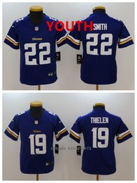 6d307719f Youth Minnesota Football Vikings Jersey 22 Harrison Smith 19 Adam Thielen  Color Rush All Stitching Jerseys