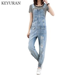 279905caf5 2019 Fashion Jumpsuit Female Denim Overalls for Women Bodysuit salopette  femme Jean Women Ripped Hole Denim Jumpsuits Rompers