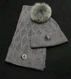 Hair Dye Balls Australia - Top Quality Celebrity design Letter Woolen Scarf Hat Men Woman Cashmere wool Fox hair ball hat 2pc 80076481 010 With Box