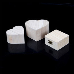 Wooden Ring Wholesale Jewelry Australia - Portable Wooden Storage Boxes Heart Shape Wood Jewelry Box Wedding Gift Makeup Storage Bin Earrings Ring