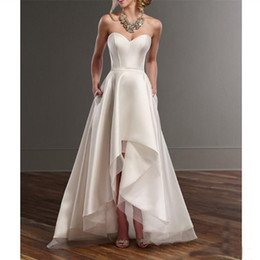 sexy country shirts Australia - 2019 simple ivory satin beach wedding dresses sexy sweetheart hi-lo wedding gowns custom floor length country bridal dresses