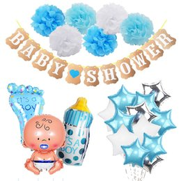gender reveal decorations UK - Baby Shower Party Decorations Set It's a Boy Girl oh baby Balloons Banner Gender Reveal Kids Birthday Party DIY Decoration