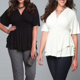 Wholesale Women Plus Size Blouse Mid sleeve V Neck Casual Shirts Black White XL XL High Waist Summer Dress