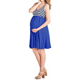 badb89e0d4 Vestido de maternidad Vestido de mujer embarazada Vestido femenino Sin  mangas Empalme Cuello redondo Color sólido Patrón de mosaico de rayas 61