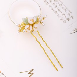 hair forks UK - Chinese Vintage Gold Color Hairpin Flower Handmade Pearl Hair Forks Gold Hair Sticks Women Headdress Accessories XH
