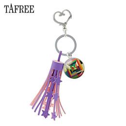 $enCountryForm.capitalKeyWord Australia - Purple Tassel Heart Clasp Clip Colorful Geometric Keychain & Keyring Key Chain Rhodium Plated Alloy Metal Jewelry A193