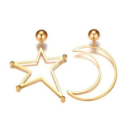 star piercings Australia - 18K Gold Plated Kpop Womens Stainless Steel Star Moon Asymmetry Piercing Dangle Drop Earrings