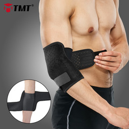 elastic elbow brace Australia - TMT Adjustable Elbow Support Pad Breathable Elastic Compression Elbow Wrap Brace Sleeve Pain Protector Tennis basketball 1PC T200615