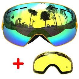 412598dcd COPOZZ Óculos De Esqui Lente Dupla Anti-nevoeiro Grandes Óculos de Esqui  Unisex Snowboard Óculos Máscara Esférica esqui UA400 + Lens