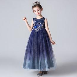 ec63bd9ac Moda Sundress 2019 Ropa para niños Fiesta de la niña Vestidos de baile Niños  Princesa Modelo Show Disfraz Adolescentes Vestido largo de fiesta