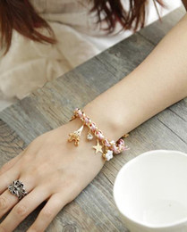 diamond plays NZ - Foreign trade fashion Pentagram flower playing card a Paris Eiffel tower crown leather rope woven Bracelet foot chain