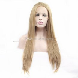 $enCountryForm.capitalKeyWord Australia - Fast Shipping Free Part 24inch Blonde Silky Straight Wigs Baby Hair Long Synthetic Lace Front Wig Heat Resistant Fiber Wigs for Black Women