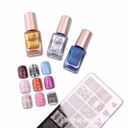 PurPle nail art designs online shopping - LULLA Nail Printed Polish Set UV LED Nail Gel Stamp Plate Lacquer Kit Colorful Plate Printing Art Design ML