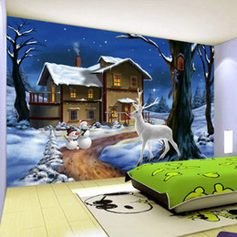 snowman paintings UK - Dropship Custom 3D Photo Wallpaper For Kids Room Cartoon Snowman Elk Decoration Wall Painting Boys Bedroom Mural Wallpaper For Walls 3 D