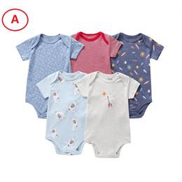 Boutique Newborn Baby boy Ropa de niña Mameluco de manga corta 5 UNIDS PACK 100% Algodón 3 6 9 12 18M 2019 Verano al por mayor
