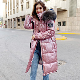warm long stylish coats women Australia - High Quality 2019 New Winter Jacket Women Warm Thicken Hooded With Fur Long Coat Shining Fabric Stylish Female Parka