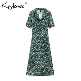 $enCountryForm.capitalKeyWord NZ - Vintage Chic Floral Print Buttons Long Dress Women Fashion Lapel Collar Short Sleeve Ladies Dresses Casual Vestidos Mujer Q190523