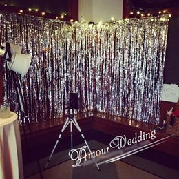Discount rainbow backdrop - 1*3m Gold Pink Rainbow Sequin backdrop Foil Fringe Tinsel Curtain Birthday Party Rain for party wedding decoration Sale
