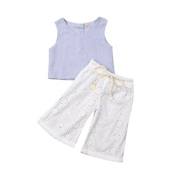 $enCountryForm.capitalKeyWord UK - Newborn Kid Baby Girl 2Pcs Linen Tank Tops Crop+Hollow Wide Leg Long Trousers Pants Infant Girl Kids Clothes Outfits Sets 1-6Y