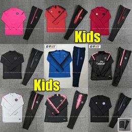 boys football tracksuits Canada - New kids Psg tracksuit 2019 2020 psg Pink soccer jogging Chandal MBAPPE Boys 18 19 Paris child football training suit kit Survetement