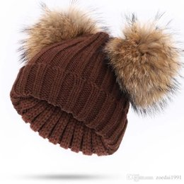Double Thick Hat Australia - Fashion double real raccoon pompom winter hat thick warm bobble knitted fur hats girls baby two fur pom pom cap