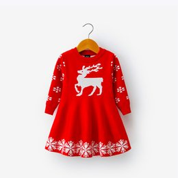 snowflake dresses Canada - Kids Dresses For Girls Long Sleeve Deer Snowflake Print Dress New Year Costume Princess Dress Kids Christmas Clothes Vestidos