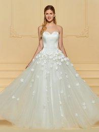 $enCountryForm.capitalKeyWord NZ - Customed Sweetheart 3D Floral Tulle Wedding Dresses 2019 A-Line Long Bride Gowns Vestido de noiva curto robe de mariage